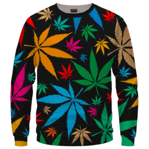 Weed Marijuana Colorful Seamless Pattern Dope Crewneck Sweatshirt