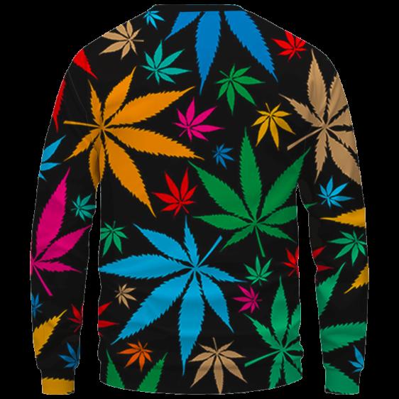 Weed Marijuana Colorful Seamless Pattern Dope Crewneck Sweatshirt - Back Mockup