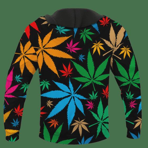 Weed Marijuana Colorful Seamless Pattern Dope Hoodie - BACK