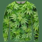 Weed Marijuana Plant Leaves Cool Crewneck Sweater