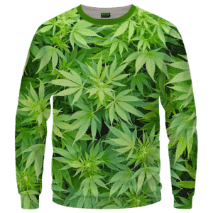 Weed Marijuana Plant Leaves Cool Crewneck Sweater