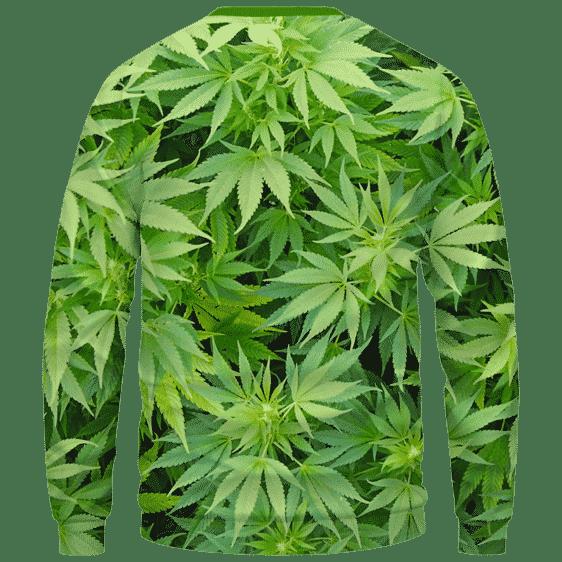 Weed Marijuana Plant Leaves Cool Crewneck Sweater - Back Mockup