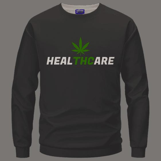 Weed THC Healthcare Dope Vector Marijuana Black Crewneck Sweater
