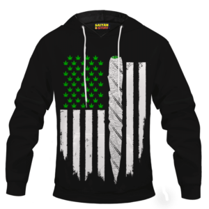 Weed US Flag Joint 420 Marijuana Adult Pullover Hoodie
