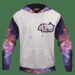 White 420 Galaxy Logo Cannabis Themed Colorful Hoodie