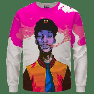 Wiz Khalifa Pink Weed Smoke Art 420 Marijuana Crewneck Sweatshirt