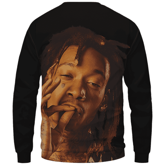 Wiz Khalifa Smoke The Weed Awesome Black Crewneck Sweatshirt - Back Mockup