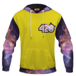 Yellow 420 Galaxy Logo Cannabis Themed Colorful Hoodie