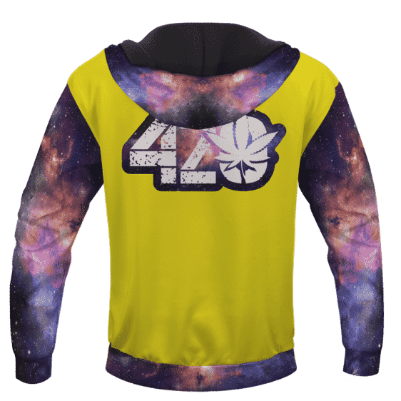 Yellow 420 Galaxy Logo Cannabis Themed Colorful Hoodie