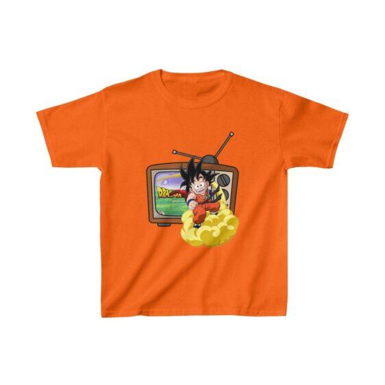 Dragon Ball Z Cute Kid Goku Flying Out Of TV Kids T-shirt