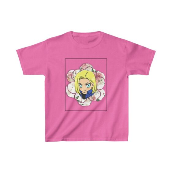 DBZ Cute Chibi Android 18 Floral Background Kids T-shirt
