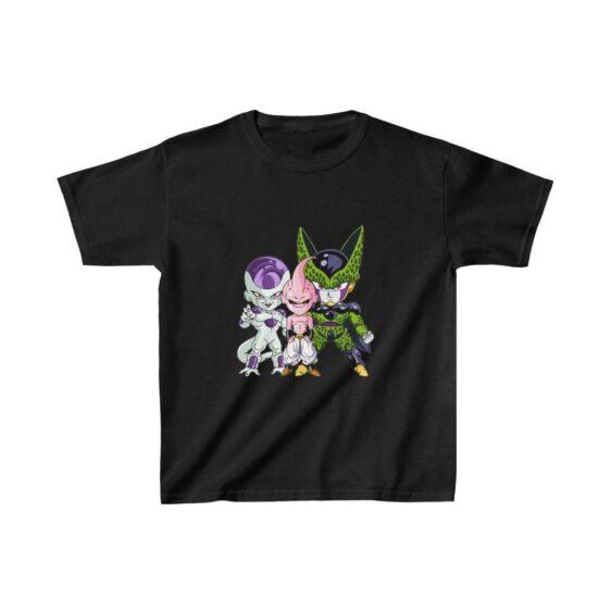 DBZ Cell Kid Buu Frieza Chibi Villains Cute Kids T-shirt