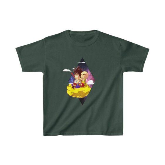 DBZ Cute Kid Goku And Krilin Flying Nimbus Kids T-shirt