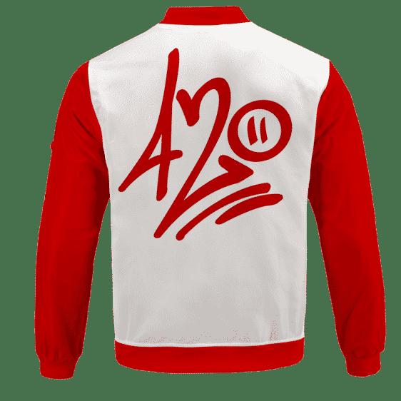 420 Percent Graffiti Minimalist Cannabis Bomber Jacket - BACK