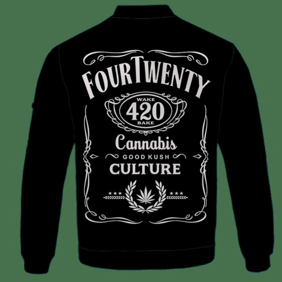420 Wake And Bake Cannabis Kush Dope Cool Black Bomber Jacket - BACK