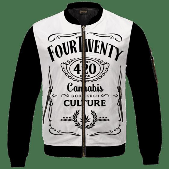 420 Wake And Bake Cannabis Kush Dope Cool White Bomber Jacket