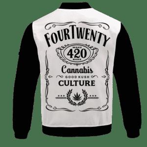 420 Wake And Bake Cannabis Kush Dope Cool White Bomber Jacket - BACK