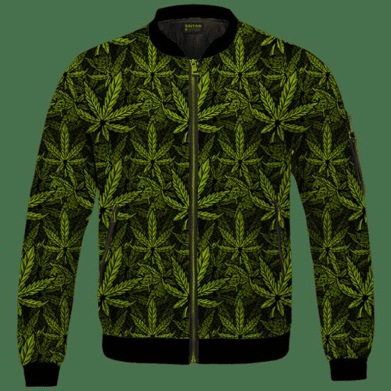 420 Weed Hemp Marijuana Pattern Awesome Bomber Jacket