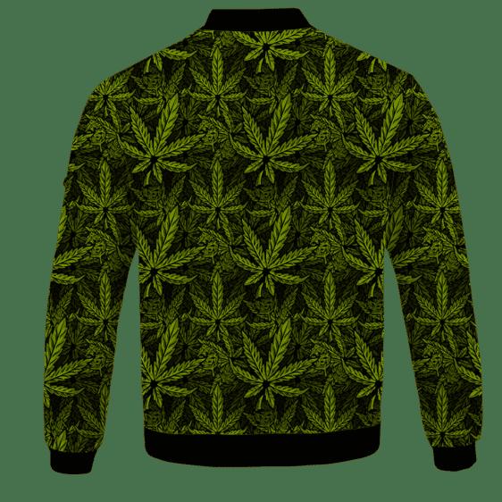 420 Weed Hemp Marijuana Pattern Awesome Bomber Jacket - BACK