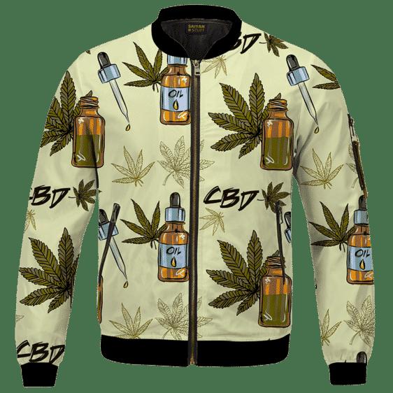 420 Weed Marijuana Dope CBD Minimalist Art Bomber Jacket