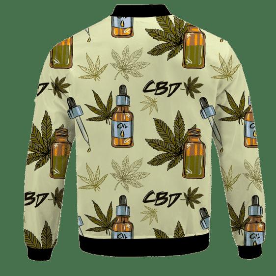 420 Weed Marijuana Dope CBD Minimalist Art Bomber Jacket - BACK