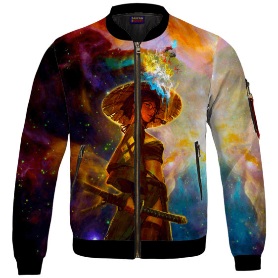 Beautiful Samurai Girl Smoking Galaxy Art Bomber Jacket