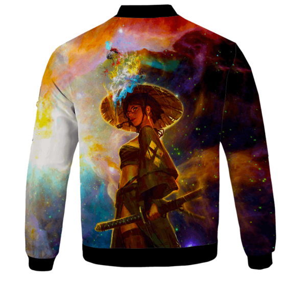 Beautiful Samurai Girl Smoking Galaxy Art Bomber Jacket - BACK