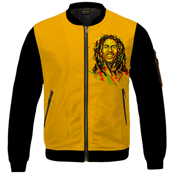 Bob Marley Artistic Painting Orange Black Bomber Jacket
