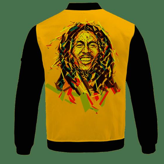 Bob Marley Artistic Painting Orange Black Bomber Jacket - BACK