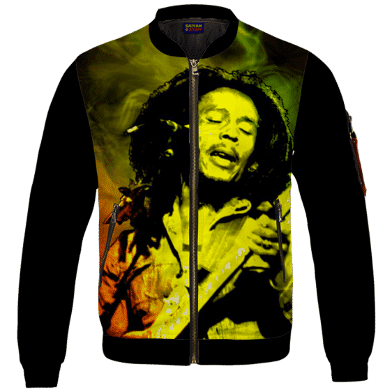 Bob Marley Singing Reggae Stoner Legend Awesome Bomber Jacket