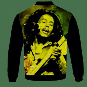 Bob Marley Singing Reggae Stoner Legend Awesome Bomber Jacket - back