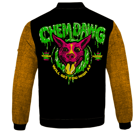 Chemdawg Strain Sativa Hybrid Indica Potent Marijuana Bomber Jacket - BACK