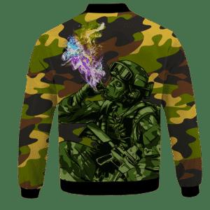 Chilling Out Soldier Smoking Marijuana Cool Bomber Jacket -BACK