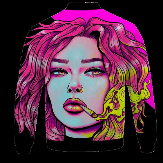 Cute Girl Smoking Joint Vector Art Pink Black Bomber Jacket - BACK