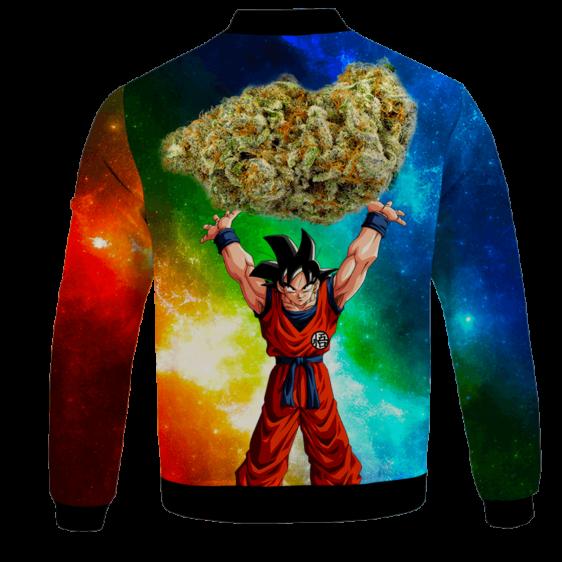 DBZ Goku Spirit Bomb Ganja Weed Colorful Bomber Jacket - BACK