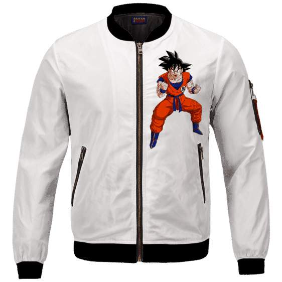 DBZ Goku Spirit Bomb Ganja Weed White Bomber Jacket