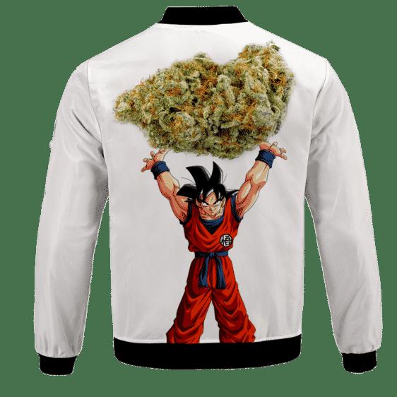 DBZ Goku Spirit Bomb Ganja Weed White Bomber Jacket - BACK