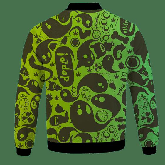 Dope Weed Cartoon Doodle Art 420 Marijuna Bomber Jacket Back