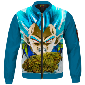 Dragon Ball Stoned Super Saiyan Blue Vegeta Marijuana Nug Bomber Jacket