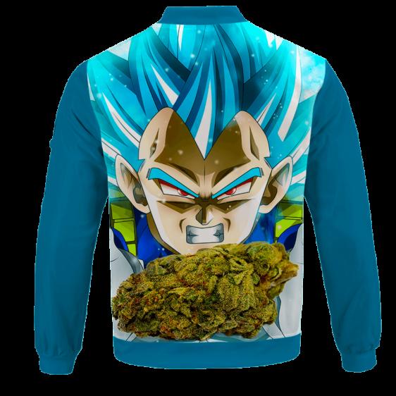 Dragon Ball Stoned Super Saiyan Blue Vegeta Marijuana Nug Bomber Jacket - BACK
