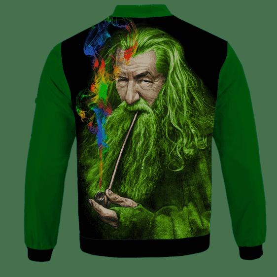 Gandalf Ganjalf The Green Smoking Dope Bomber Jacket - BACK