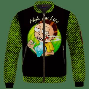 High for Life Adventures of Morty 420 Marijuana Bomber Jacket