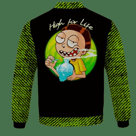 High for Life Adventures of Morty 420 Marijuana Bomber Jacket - back