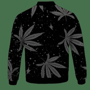Hippie Skull Awesome Marijuana Leaves Pattern Dope Black Bomber Jacket - BACK