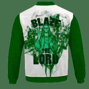 Jesus Smokes Blaze The Lord Funny Art 420 Marijuana Bomber Jacket - BACK