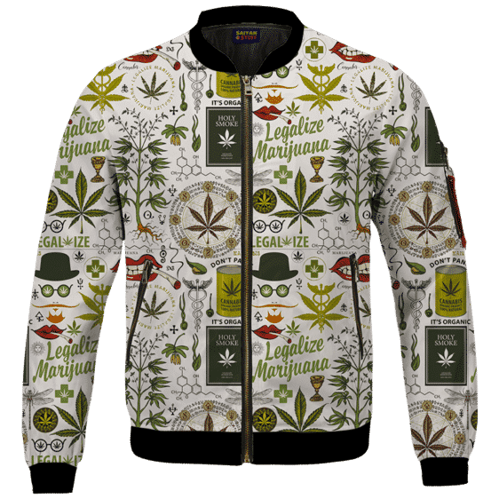 Legalize Marijuana Seamless Pattern Dope Art Bomber Jacket