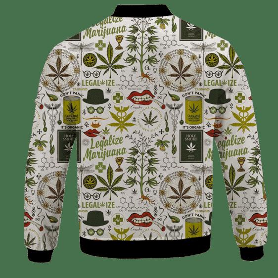 Legalize Marijuana Seamless Pattern Dope Art Bomber Jacket - BACK
