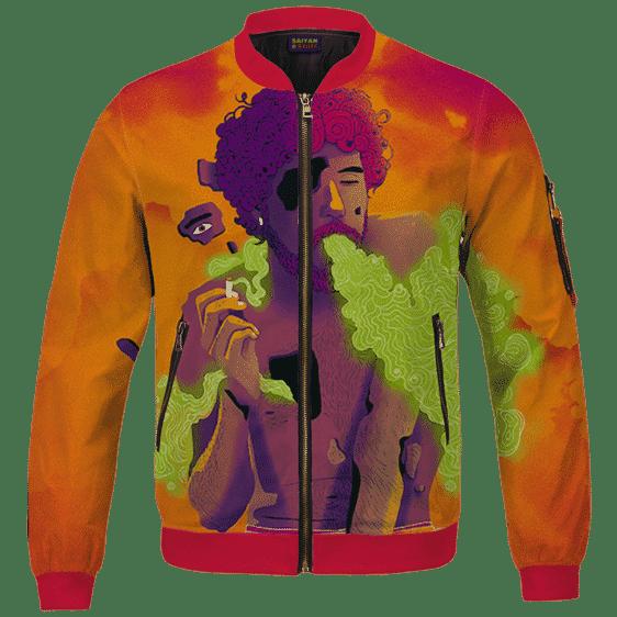 Man Smoking Marijuana Awesome Cool Orange Art Bomber Jacket