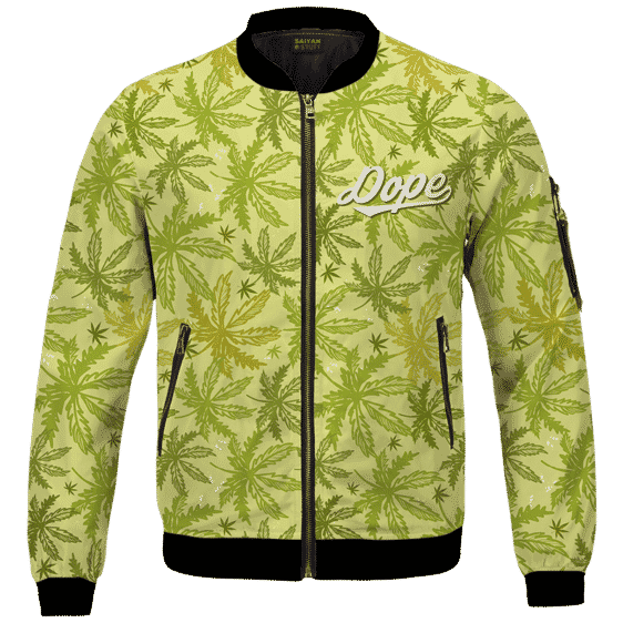 Marijuana Breezy Seamless Pattern Hemp Awesome Bomber Jacket