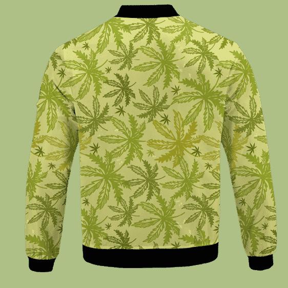 Marijuana Breezy Seamless Pattern Hemp Awesome Bomber Jacket - BACK